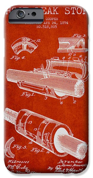 Gear iPhone Cases - 1894 Hose Leak Stop Patent - Red iPhone Case by Aged Pixel