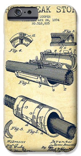 Gear iPhone Cases - 1894 Hose Leak Stop Patent - Vintage iPhone Case by Aged Pixel