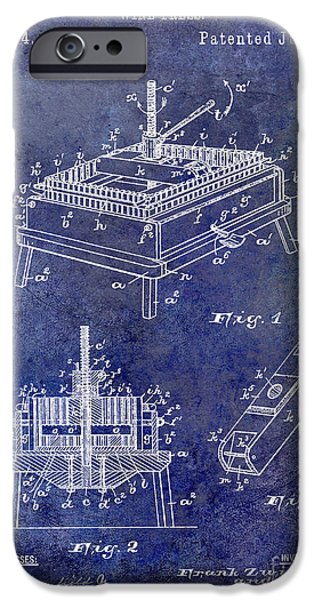 Wine Barrel Photographs iPhone Cases - 1894 Wine Press Patent Blue iPhone Case by Jon Neidert