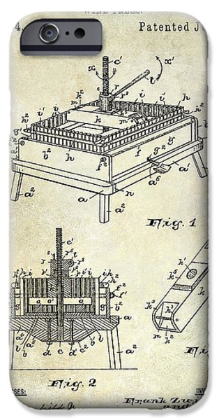 Wine Barrel Photographs iPhone Cases - 1894 Wine Press Patent iPhone Case by Jon Neidert