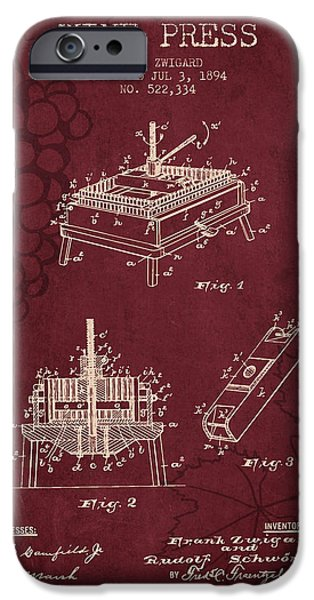 Red Wine iPhone Cases - 1894 Wine Press Patent - red wine iPhone Case by Aged Pixel