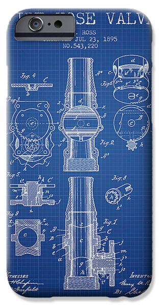 Gear iPhone Cases - 1895 Fire Hose Valve Patent - Blueprint iPhone Case by Aged Pixel