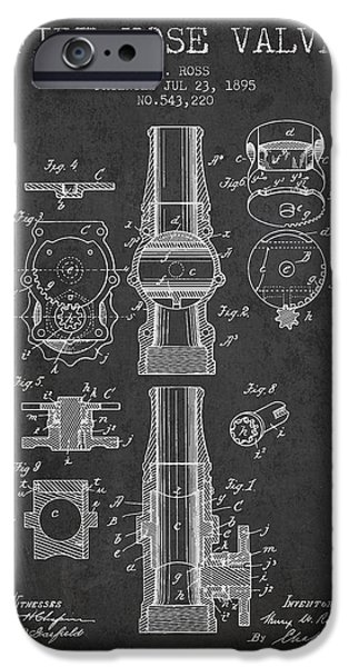 Gear iPhone Cases - 1895 Fire Hose Valve Patent - Charcoal iPhone Case by Aged Pixel