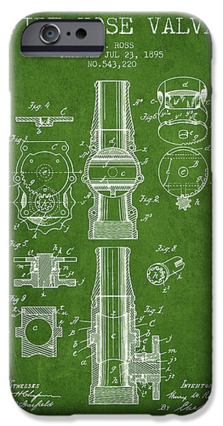 Gear iPhone Cases - 1895 Fire Hose Valve Patent - Green iPhone Case by Aged Pixel