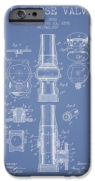 Gear iPhone Cases - 1895 Fire Hose Valve Patent - Light Blue iPhone Case by Aged Pixel