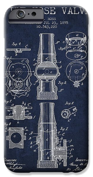 Gear iPhone Cases - 1895 Fire Hose Valve Patent - Navy Blue iPhone Case by Aged Pixel