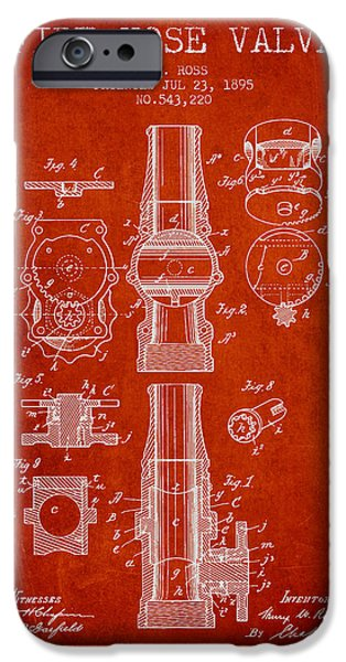 Gear iPhone Cases - 1895 Fire Hose Valve Patent - Red iPhone Case by Aged Pixel