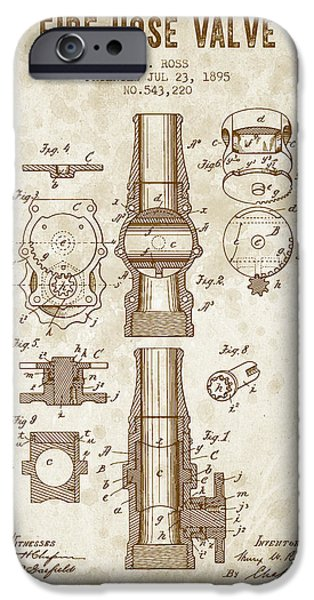 Gear iPhone Cases - 1895 Fire Hose Valve Patent - Vintage Brown iPhone Case by Aged Pixel