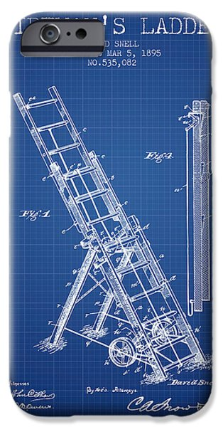 Gear iPhone Cases - 1895 Firemans ladder Patent - Blueprint iPhone Case by Aged Pixel