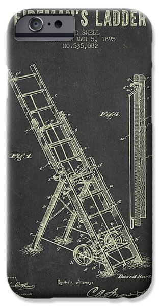 Gear iPhone Cases - 1895 Firemans Ladder Patent - Dark Grunge iPhone Case by Aged Pixel