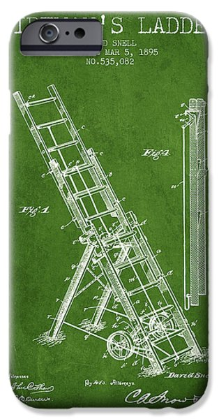 Gear iPhone Cases - 1895 Firemans ladder Patent - green iPhone Case by Aged Pixel