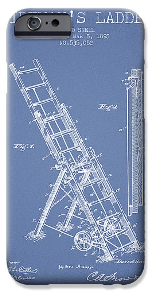 Gear iPhone Cases - 1895 Firemans ladder Patent - light blue iPhone Case by Aged Pixel