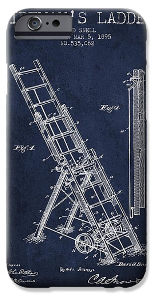 Gear iPhone Cases - 1895 Firemans ladder Patent - navy blue iPhone Case by Aged Pixel