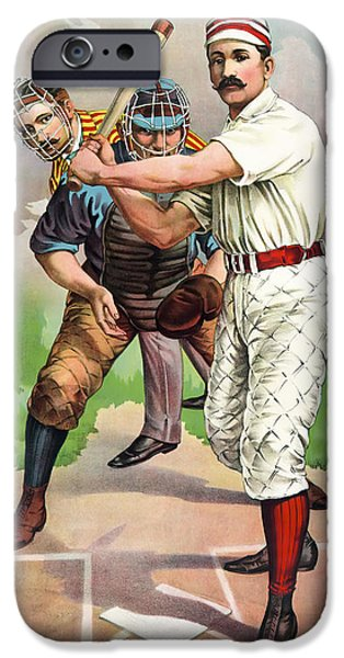 1895 IN THE BATTERS BOX iPhone Case by Daniel Hagerman