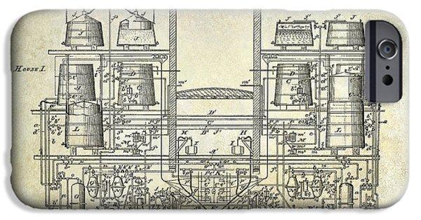 Stein iPhone Cases - 1897 Beer Brewering Patent  iPhone Case by Jon Neidert