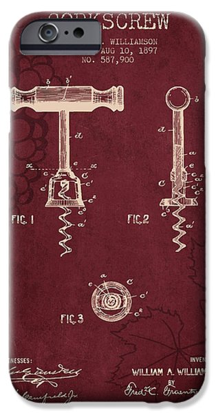 Grapes Drawings iPhone Cases - 1897 Corkscrew patent Drawing - Red Wine iPhone Case by Aged Pixel