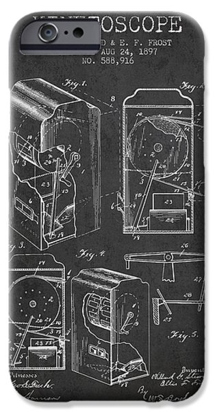 Detectives iPhone Cases - 1897 Kinetoscope Patent - charcoal iPhone Case by Aged Pixel