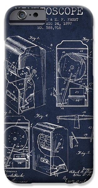 Detectives iPhone Cases - 1897 Kinetoscope Patent - Navy Blue iPhone Case by Aged Pixel