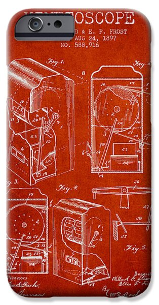 Detectives iPhone Cases - 1897 Kinetoscope Patent - red iPhone Case by Aged Pixel