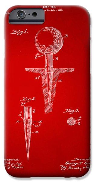 Unique Drawings iPhone Cases - 1899 Golf Tee Patent Artwork Red iPhone Case by Nikki Marie Smith