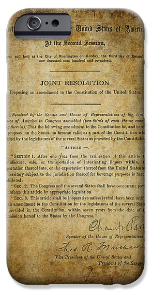 Constitution iPhone Cases - 18th Amendment to CONSTITUTION - PROHIBITION iPhone Case by Daniel Hagerman