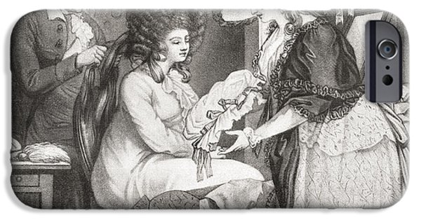 Morning Drawings iPhone Cases - 18th Century Lady At Her Morning iPhone Case by Ken Welsh