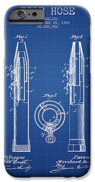 Gear iPhone Cases - 1900 Fire Hose Patent - blueprint iPhone Case by Aged Pixel