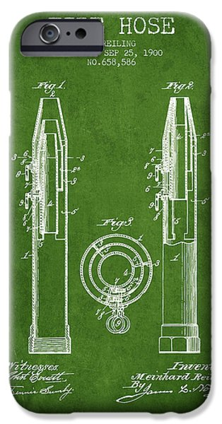 Gear iPhone Cases - 1900 Fire Hose Patent - green iPhone Case by Aged Pixel