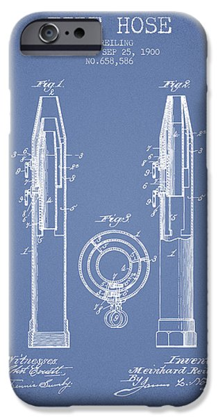 Gear iPhone Cases - 1900 Fire Hose Patent - light blue iPhone Case by Aged Pixel