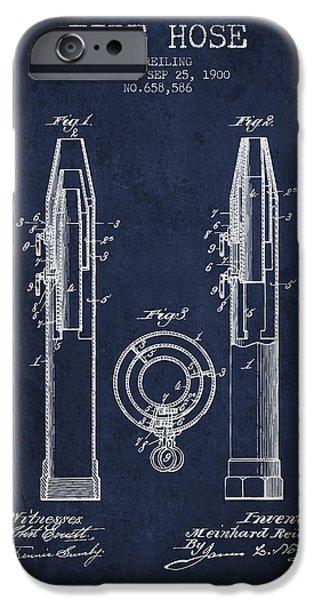 Gear iPhone Cases - 1900 Fire Hose Patent - navy blue iPhone Case by Aged Pixel