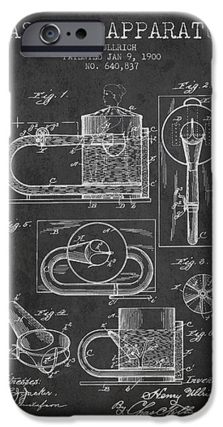 Medical Drawings iPhone Cases - 1900 Massage Apparatus patent - Charcoal iPhone Case by Aged Pixel