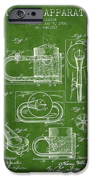 Medical Drawings iPhone Cases - 1900 Massage Apparatus patent - Green iPhone Case by Aged Pixel