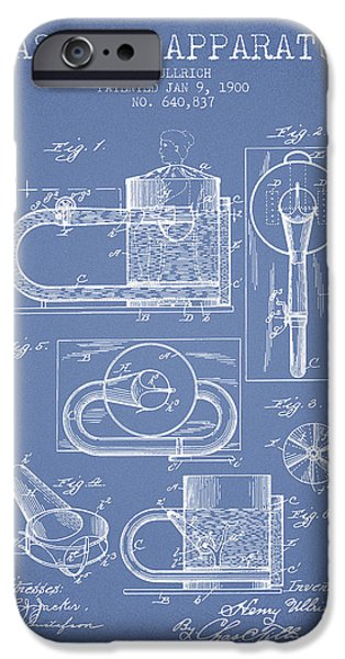 Medical Drawings iPhone Cases - 1900 Massage Apparatus patent - Light Blue iPhone Case by Aged Pixel