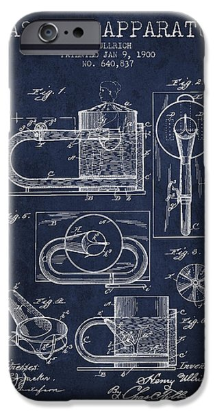 Medical Drawings iPhone Cases - 1900 Massage Apparatus patent - Navy Blue iPhone Case by Aged Pixel