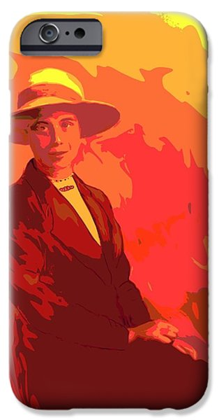 Old Digital Art iPhone Cases - 1900s English Country Lady Pop Art iPhone Case by Karen Harding