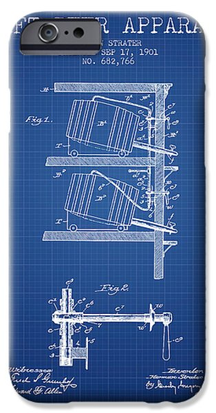 Recently Sold -  - Technical iPhone Cases - 1901 Draft Beer Apparatus - Blueprint iPhone Case by Aged Pixel