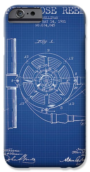 Gear iPhone Cases - 1901 Fire Hose Reel Patent - blueprint iPhone Case by Aged Pixel
