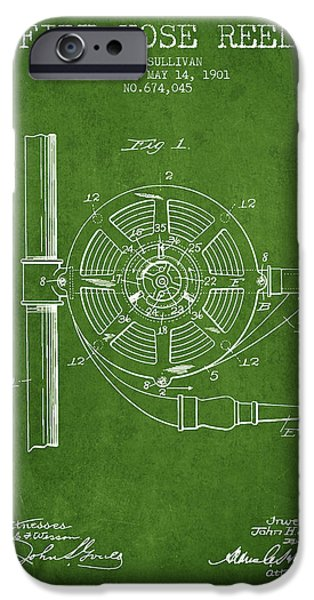 Gear iPhone Cases - 1901 Fire Hose Reel Patent - green iPhone Case by Aged Pixel