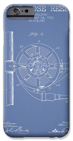 Gear iPhone Cases - 1901 Fire Hose Reel Patent - light blue iPhone Case by Aged Pixel