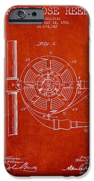 Gear iPhone Cases - 1901 Fire Hose Reel Patent - red iPhone Case by Aged Pixel