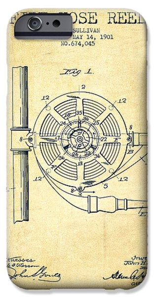 Gear iPhone Cases - 1901 Fire Hose Reel Patent - vintage iPhone Case by Aged Pixel