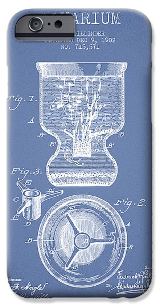 Aquarium Fish iPhone Cases - 1902 Aquarium Patent - Light Blue iPhone Case by Aged Pixel