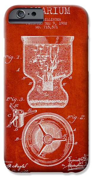Aquarium Fish iPhone Cases - 1902 Aquarium Patent - Red iPhone Case by Aged Pixel