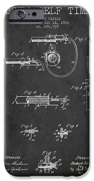 Film Drawings iPhone Cases - 1902 Camera Self Timer Patent - charcoal iPhone Case by Aged Pixel