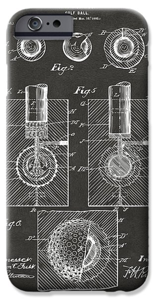 Unique Drawings iPhone Cases - 1902 Golf Ball Patent Artwork - Gray iPhone Case by Nikki Marie Smith