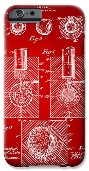 Unique Drawings iPhone Cases - 1902 Golf Ball Patent Artwork Red iPhone Case by Nikki Marie Smith