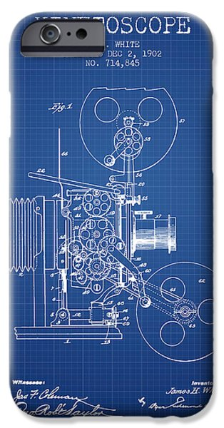 Detectives iPhone Cases - 1902 Kinetoscope Patent - Blueprint iPhone Case by Aged Pixel