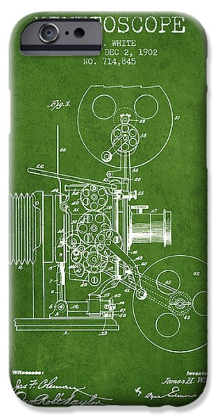Detectives iPhone Cases - 1902 Kinetoscope Patent - Green iPhone Case by Aged Pixel