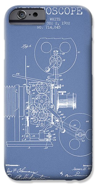 Detective iPhone Cases - 1902 Kinetoscope Patent - Light Blue iPhone Case by Aged Pixel