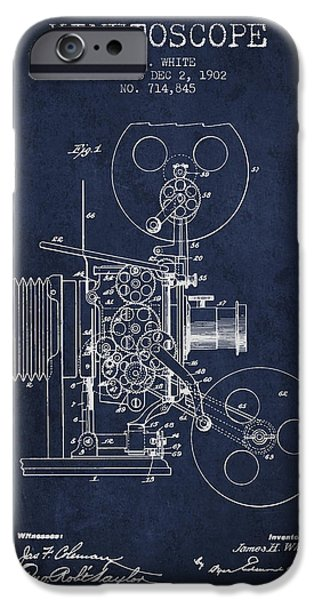 Detectives iPhone Cases - 1902 Kinetoscope Patent - Navy Blue iPhone Case by Aged Pixel
